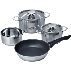 set of 3 pots + 1 pan for induction hob