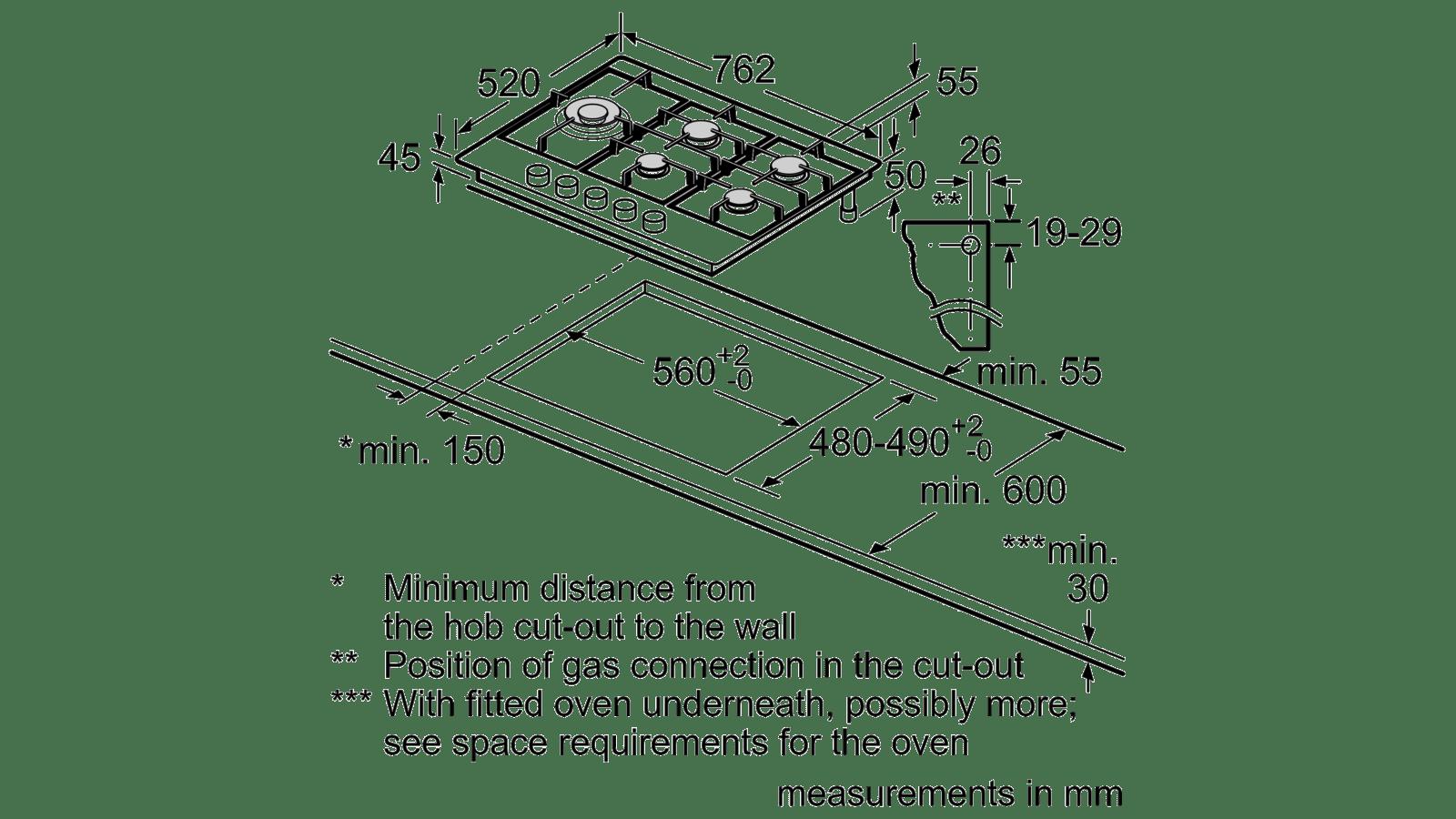Hauteur De Hotte Pour Gaz bosch - pcs815b90e - plaques de gaz, 75 cm de largeur
