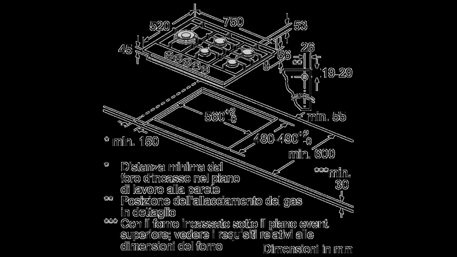 Misure Standard Piano Cottura Cucina serie | 6 piano cottura a gas 75 cm acciaio inox pcs7a5m90