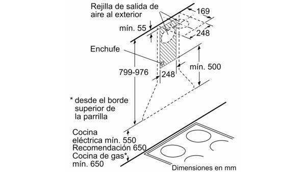 Campana Recirculaci/ón, 650 m/³//h, 300 m/³//h, Montado en pared, Hal/ógeno, Acero inoxidable Bosch DWW09W650