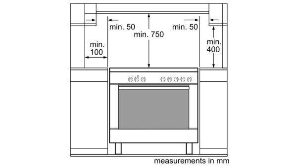 Serie | 2 Gas range cooker 90 cm HSG734357Z HSG734357Z-8