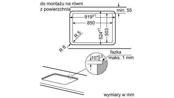 Modish 90 cm, Płyta gazowa z integralnym sterowaniem, szkło hartowane FU27