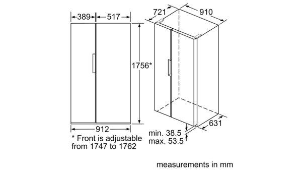 Serie | 4 American side by side 175.6 x 91.2 cm Stainless steel (with anti-fingerprint) KAN92VI35O KAN92VI35O-8