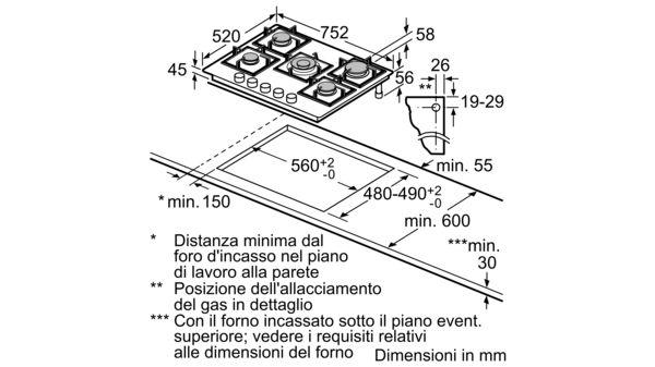 BOSCH - PPQ7A6B20 - Piano cottura a gas
