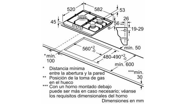 BOSCH PCC6A5B90 Placa de gas