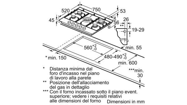 Pcq7a5b90 Piano Cottura A Gas Di 75 Cm Di Larghezza Acciaio Inox