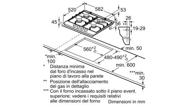 BOSCH - PCH6A5B90 - Piano cottura a gas
