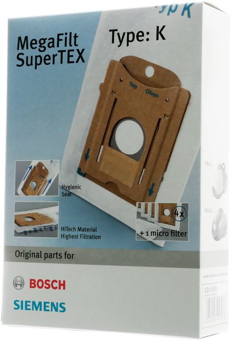 Støvsugerposer i stof type G, 4 stk. + 1 filter til støvsuger, BoschSiemens original