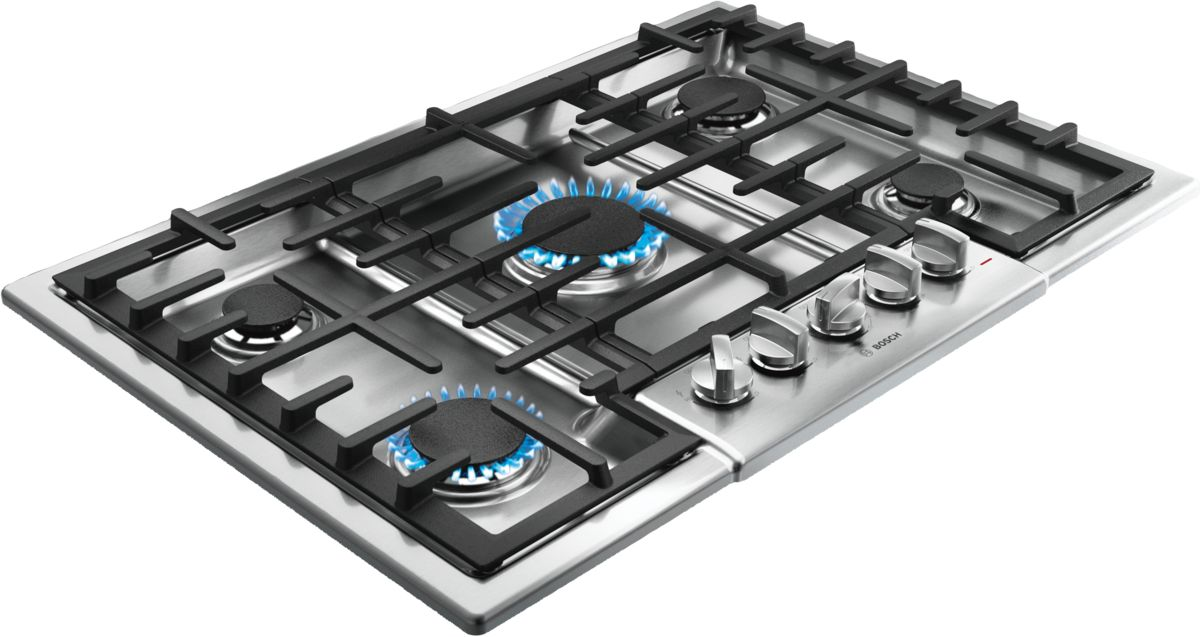 30 5 Burner Gas Cooktop Ngm8055uc Stainless Steel 800 Series Bosch