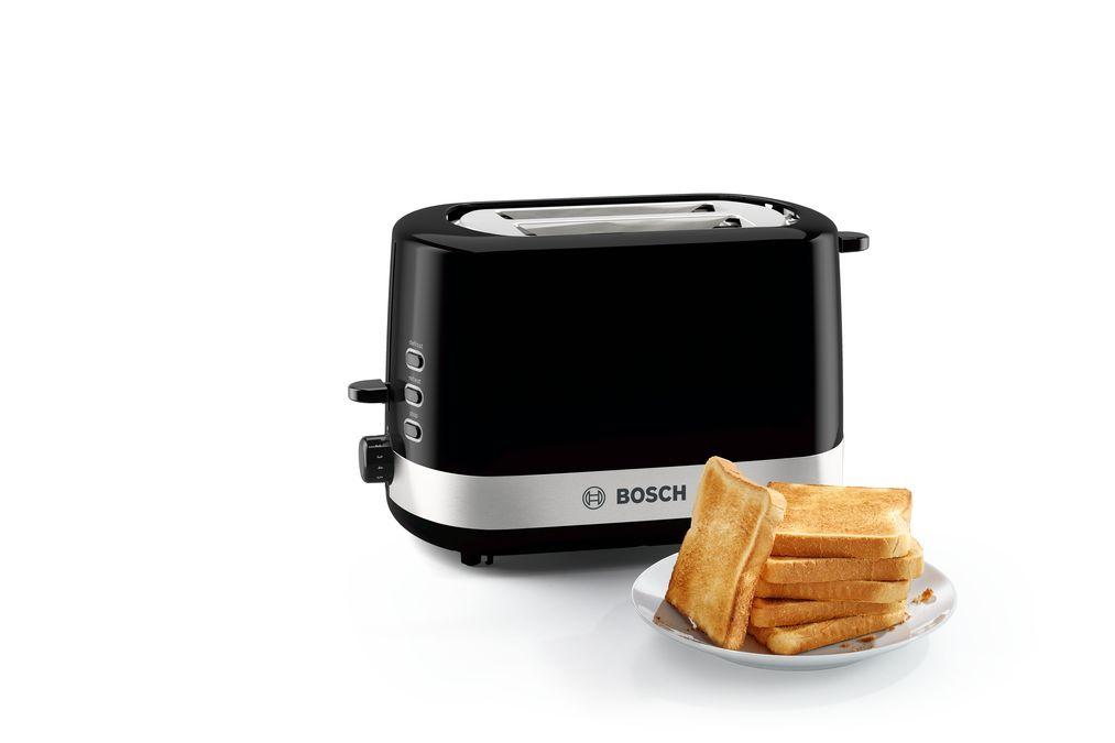 Toaster Kompakt Kunststoff Bosch TAT7403 schwarz// edelstahl
