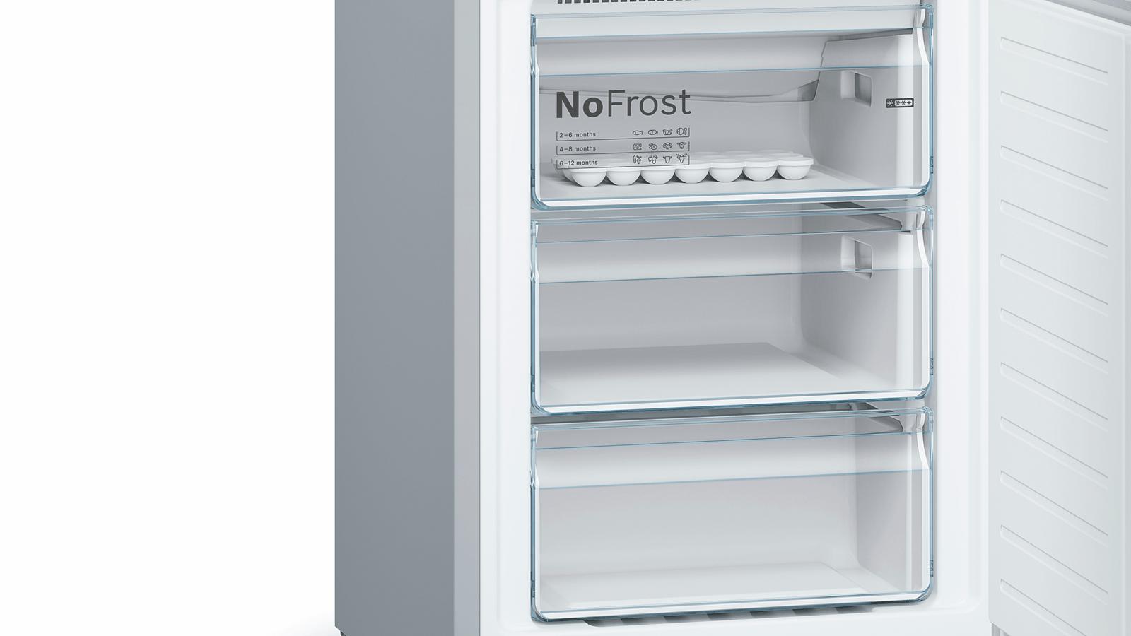 Refrigerateur Americain Faible Largeur serie | 4 free-standing fridge-freezer with freezer at bottom 203 x 60 cm  inox antifingerprint kgn39vi35