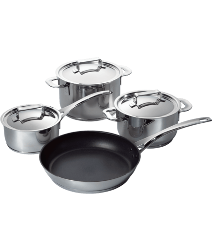 set of 3 pots 1 pan for induction hob hez390040 bosch. Black Bedroom Furniture Sets. Home Design Ideas