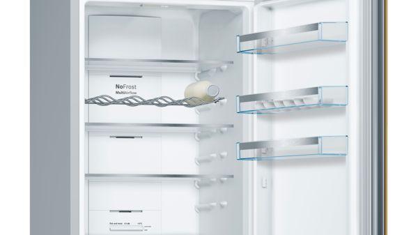 Serija |  4 Samostojna kombinacija hladilnika in zamrzovalnika s spodnjo zamrzovalno površino in zamenljivimi barvnimi frontami 203 x 60 cm KVN39IG4C KVN39IG4C-24